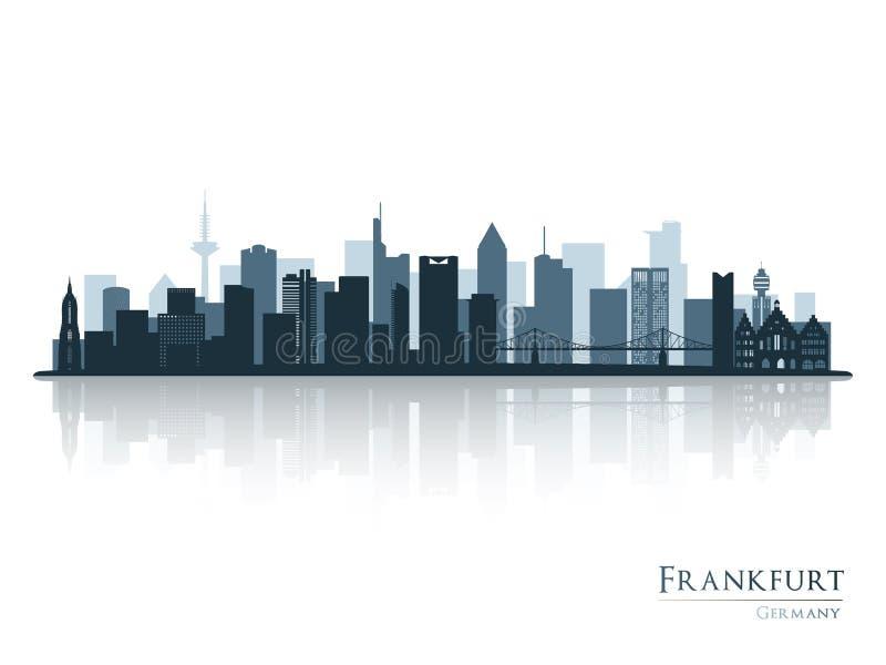 Frankfurt skyline silhouette with reflection. Vector illustration royalty free illustration