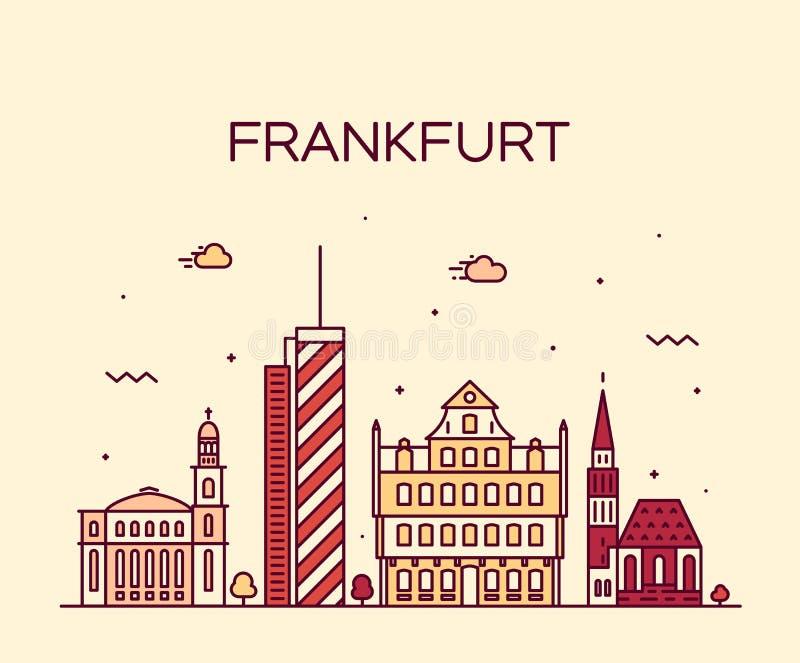 Frankfurt skyline vector illustration linear style. Frankfurt skyline detailed silhouette Trendy vector illustration linear style royalty free illustration