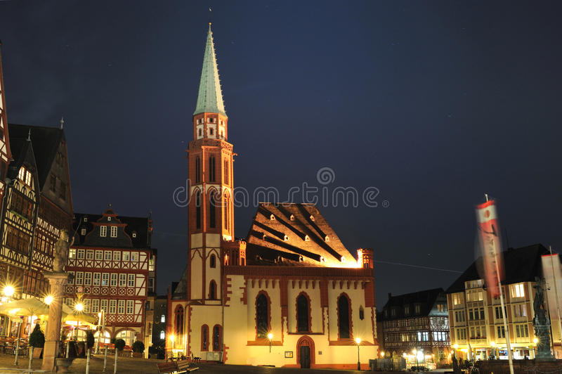 St. Nicolaus Church from Frankfurt city by night royalty free stock photos