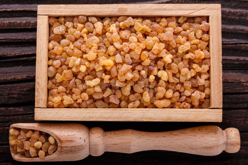Frankincense istotny olej na drewnianym tle obraz royalty free
