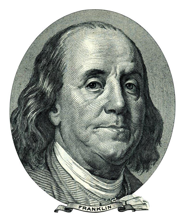 Franklin Benjamin-Porträtausschnitt (Beschneidungspfad) vektor abbildung