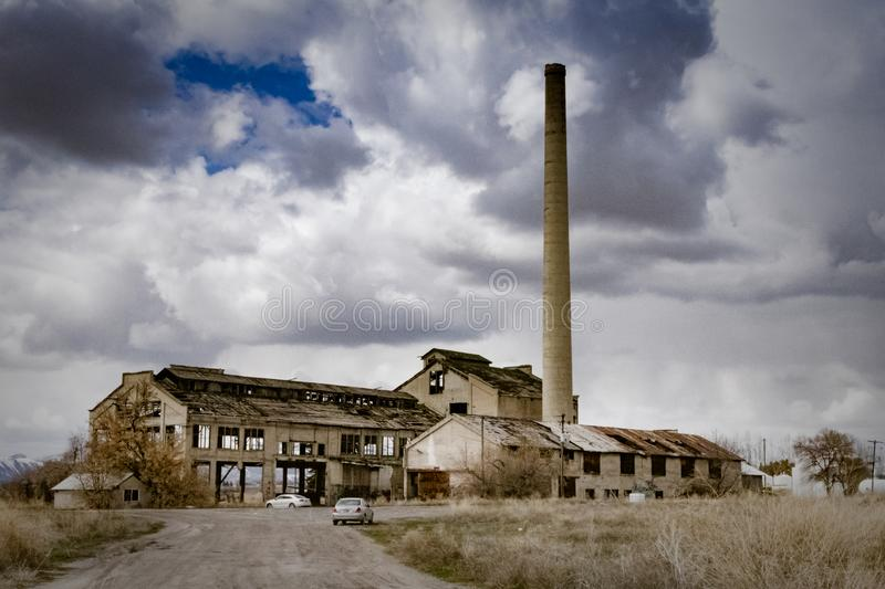 Old Skeleton Remains of an Abandoned Factory stock photography