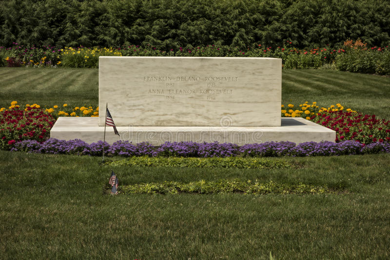 Franklin and Eleanor Roosevelt Gravesite. The grave site of Franklin and Eleanor Roosevelt in Hyde Park, New York. (US National Park royalty free stock photos