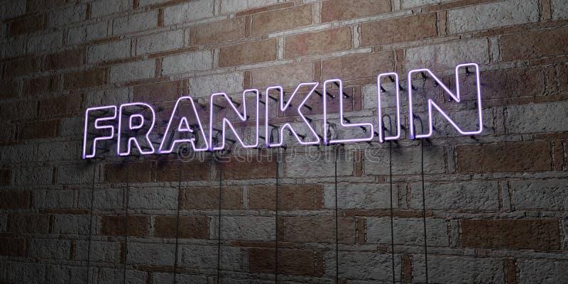 FRANKLIN - Rozjarzony Neonowy znak na kamieniarki ścianie - 3D odpłacająca się królewskości bezpłatna akcyjna ilustracja royalty ilustracja