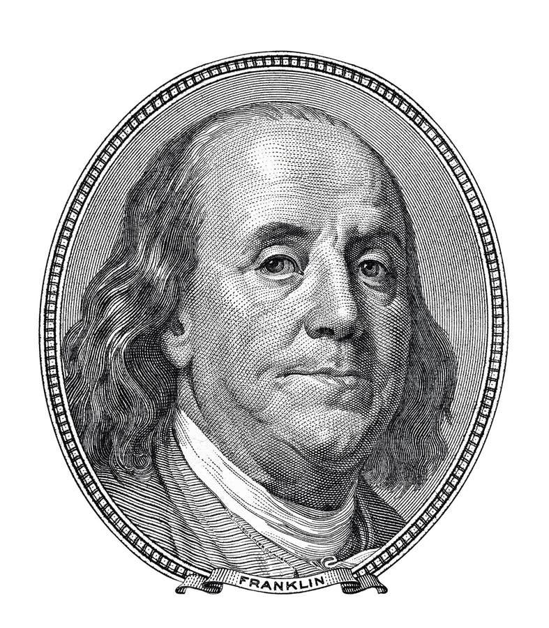 Franklyn Benjamin-portret honderd geïsoleerde dollarrekening stock afbeelding
