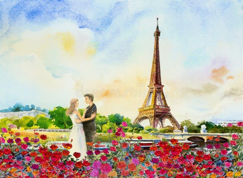 Frankreich, Eiffelturm und Paare lieben Mann, Frau lizenzfreie abbildung