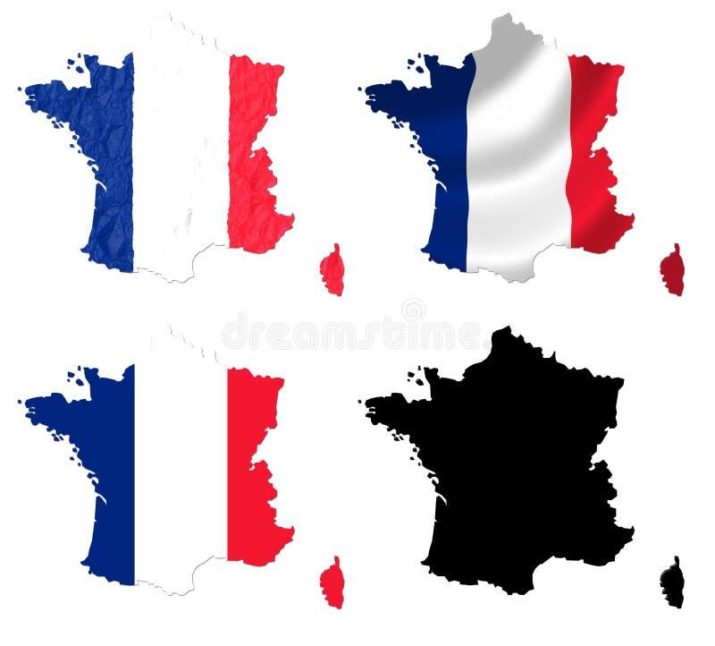 Frankreich-Flagge über Karte lizenzfreie abbildung