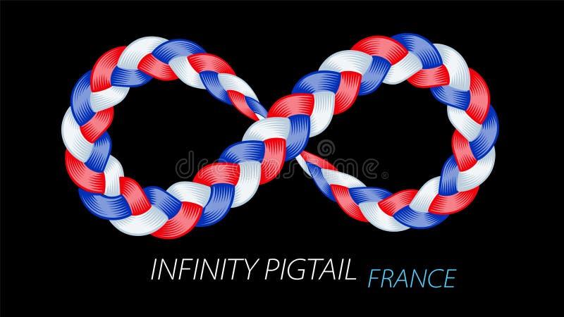 Frankreich-Flagge als verdrehtes Zopfzeichen der Unendlichkeit lizenzfreie abbildung