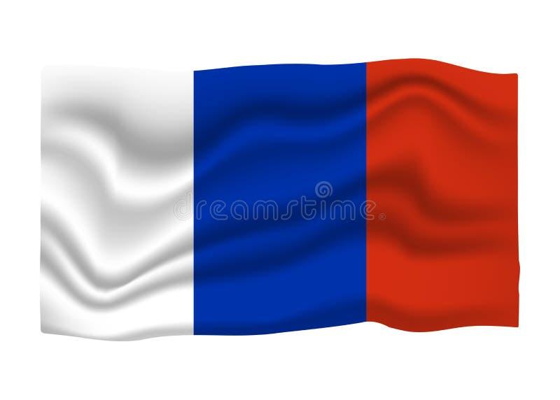 Frankreich-Flaggenikone Staatsflagge-Fahne Katze entweicht auf ein Dach vom Ausl?nder stock abbildung