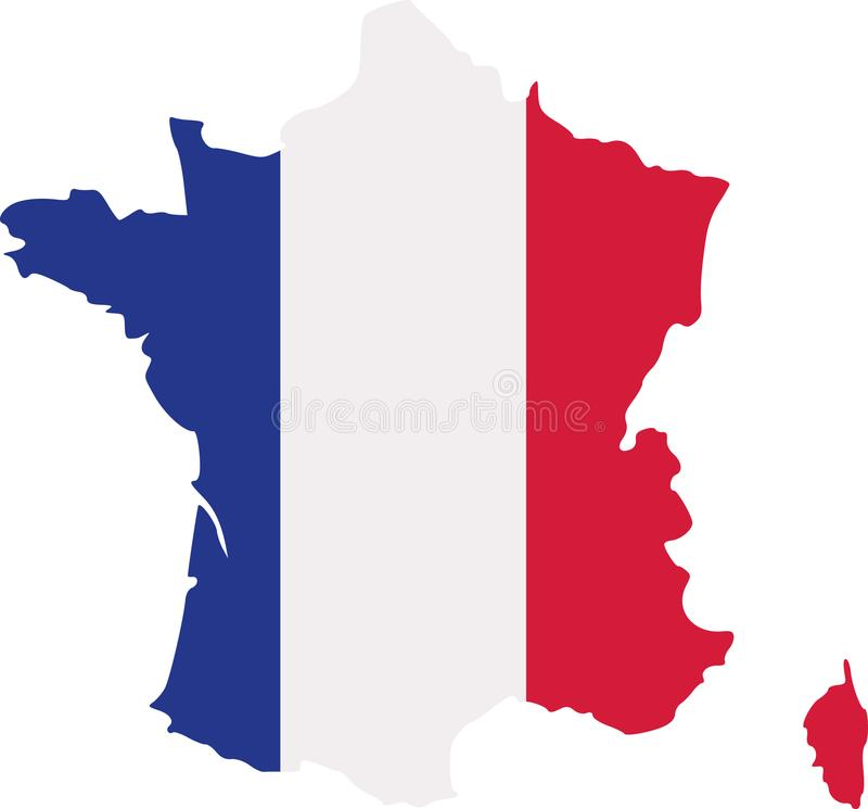 Frankreich-Karte mit Flagge vektor abbildung