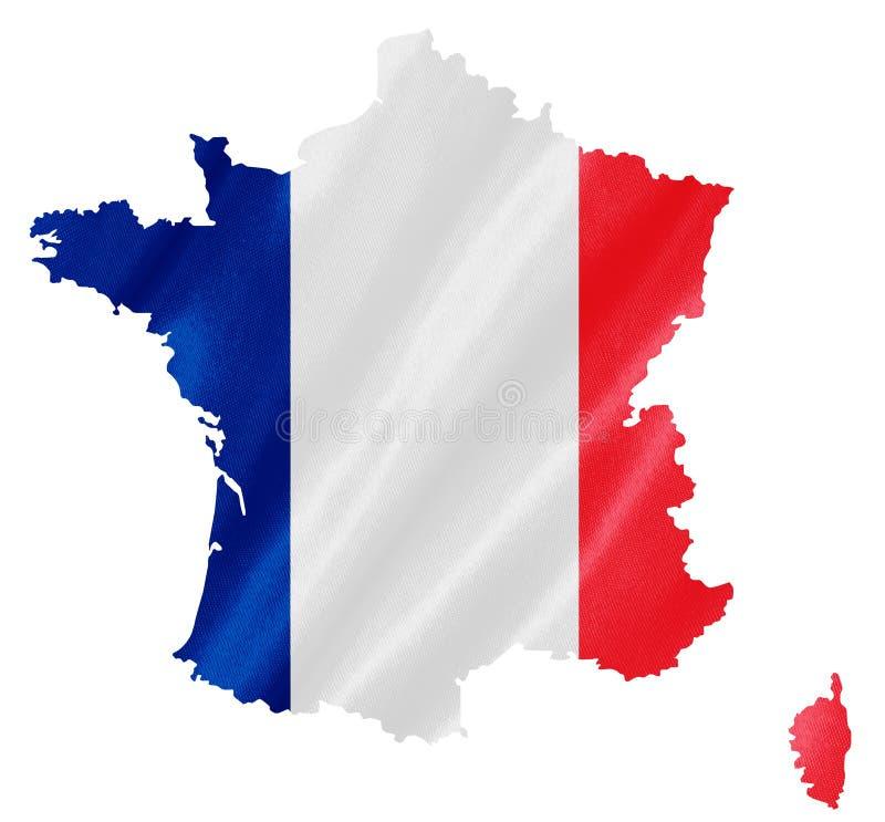 Frankreich-Karte mit Flagge lizenzfreie abbildung
