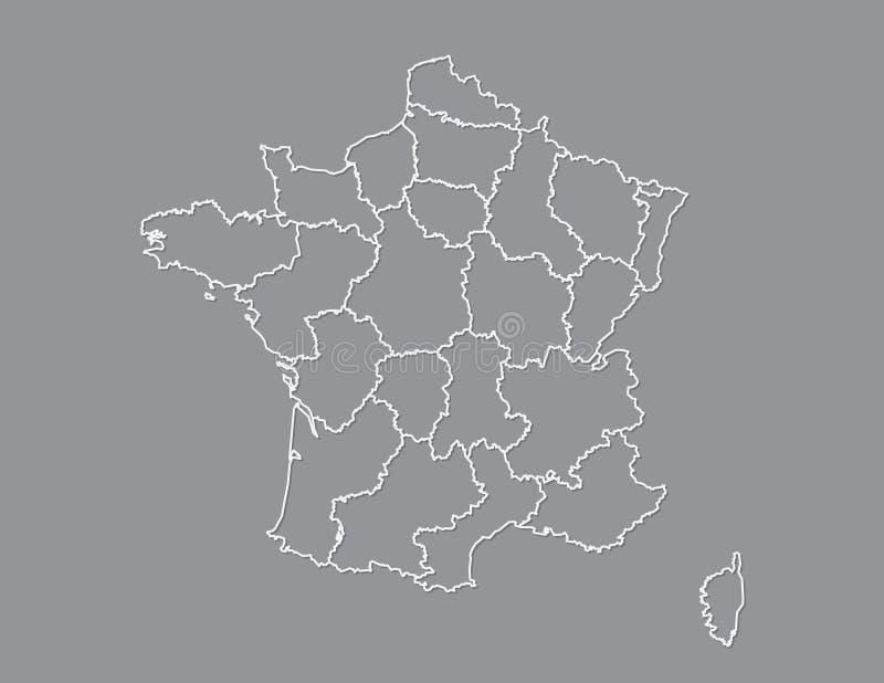Frankreich-Karte mit verschiedenen Regionen unter Verwendung der weißen Linien auf dunklem Hintergrundvektor vektor abbildung