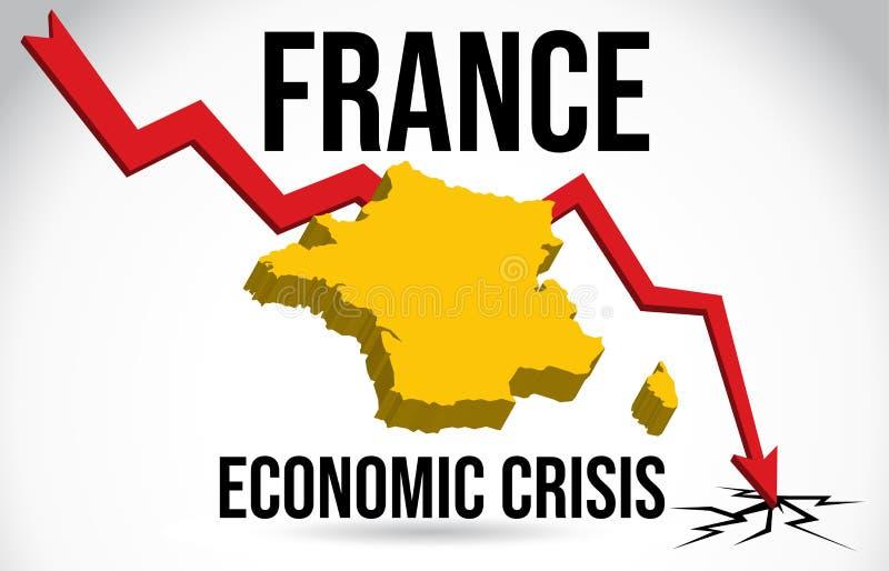Frankreich-Karten-Finanzkrise-wirtschaftlicher Einsturz-B?rsenkrach-globaler Einschmelzen-Vektor vektor abbildung