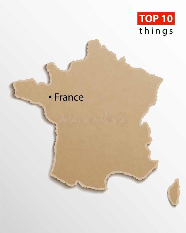 Frankreich-Kartenvektor Französische Kartenkraftpapierbeschaffenheit Kreatives Gestaltungselement der leeren Schabloneninformatio vektor abbildung