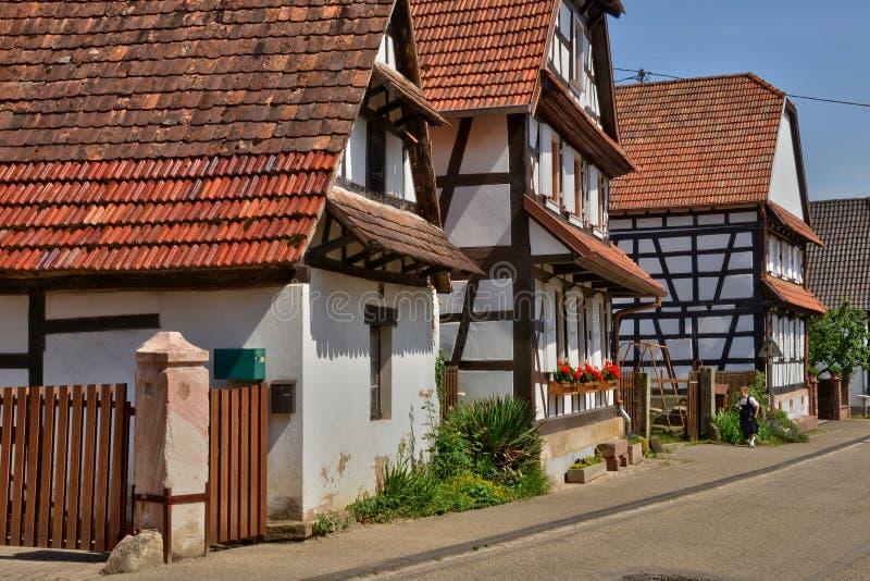 Frankreich, malerisches Dorf von Hunspach in Elsass stockbilder