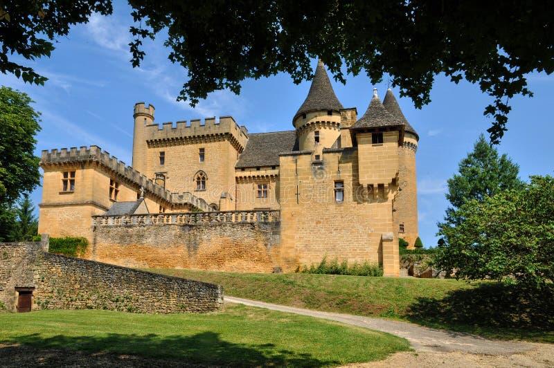 Frankreich, malerisches Schloss von Puymartin in Dordogne stockbilder