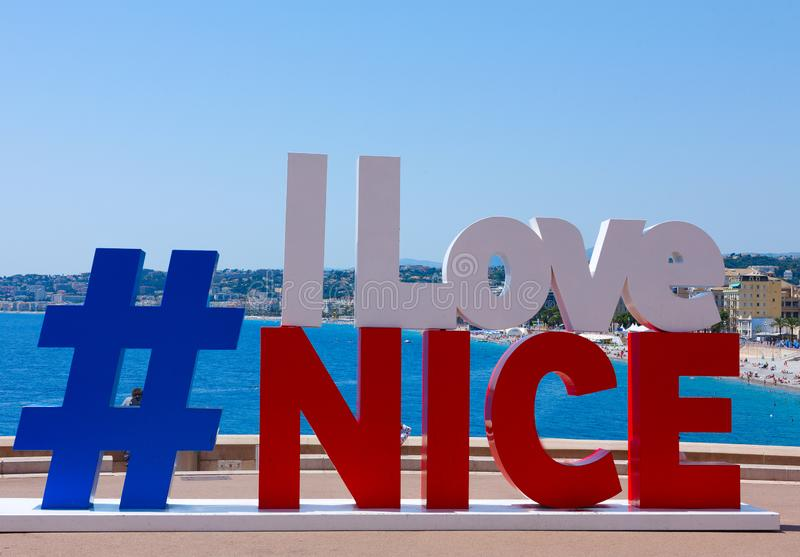 frankreich nett hashtag liebe ich Nizza horizontal lizenzfreie stockfotos
