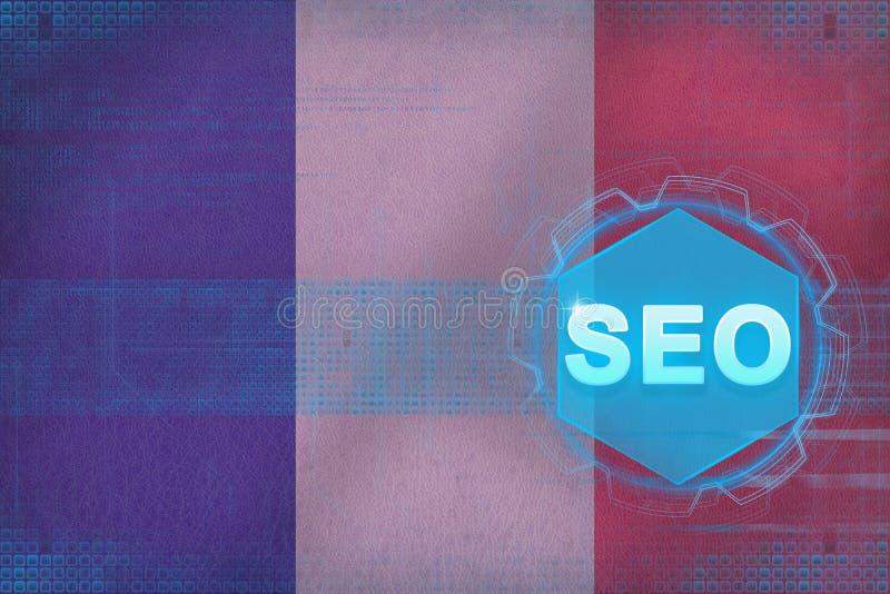 Frankreich-seo (Suchmaschinen-Optimierung) Suchmaschineoptimierungskonzept stock abbildung
