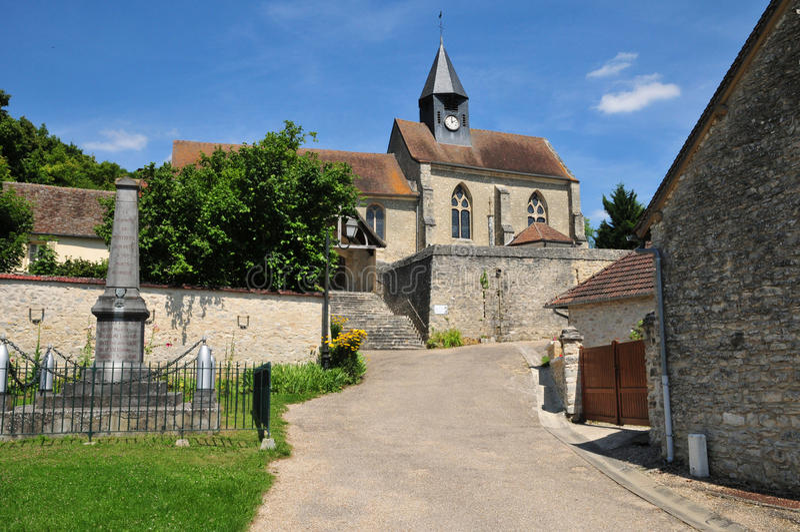 Frankrijk, het schilderachtige dorp van Montreuil sur Epte stock afbeeldingen