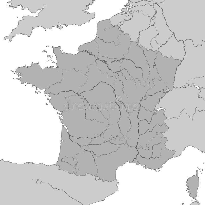 Frankrijk - Kaart van hoog Gedetailleerd Frankrijk - stock illustratie