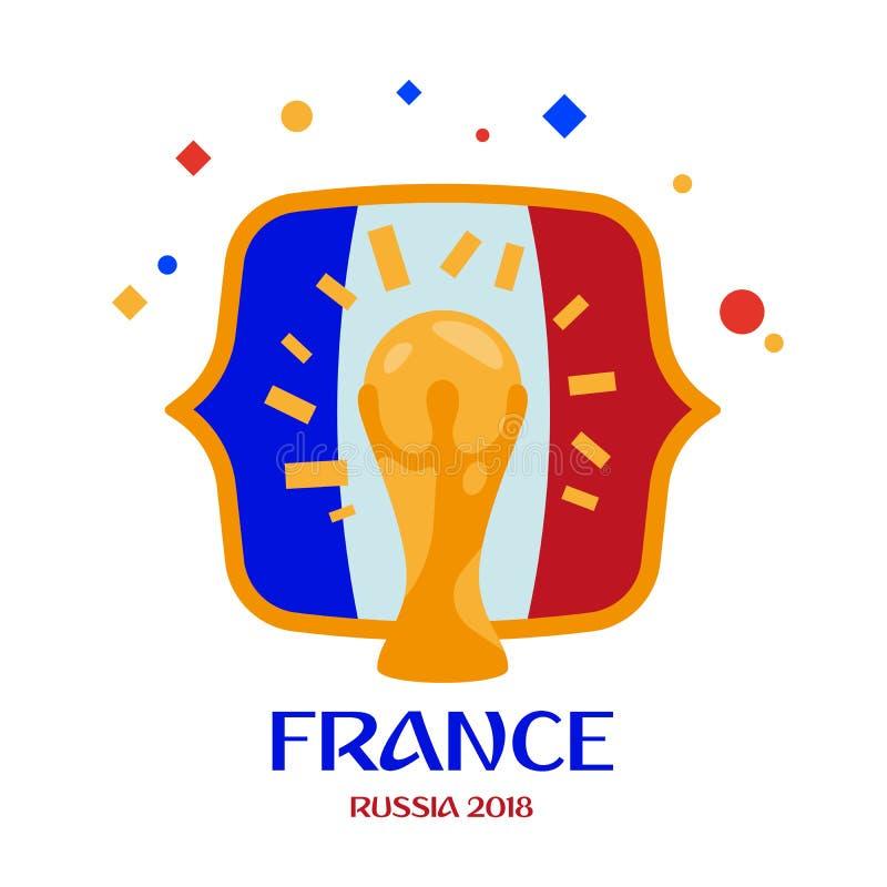 Frankrijk is kampioen Winnaar van het kampioenschap Rusland 2018 van de wereldvoetbal vector illustratie