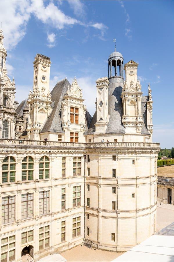 frankrijk Mening van de binnenplaats van het kasteel van Chambord, 1519 - 1547 jaar Lijst van Unesco royalty-vrije stock afbeelding