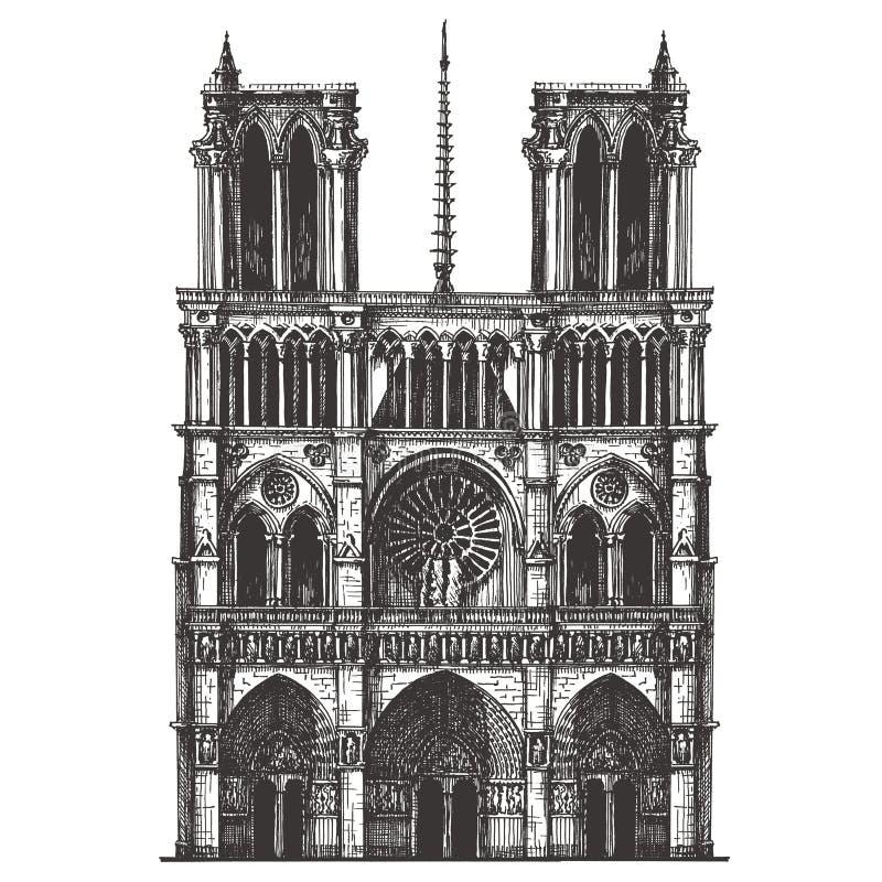 Frankrijk, Parijs, de architectuur op een wit vector illustratie