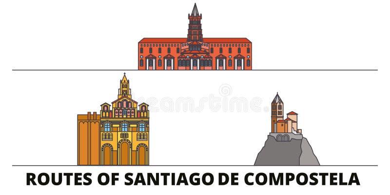 Frankrijk, Routes van vlakke de oriëntatiepunten vectorillustratie van Santiago De Compostela Frankrijk, Routes van Santiago De C vector illustratie