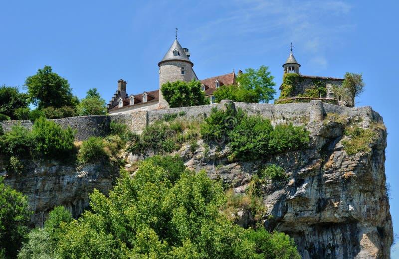 Frankrijk, schilderachtig kasteel van Belcastel in Lacave royalty-vrije stock fotografie