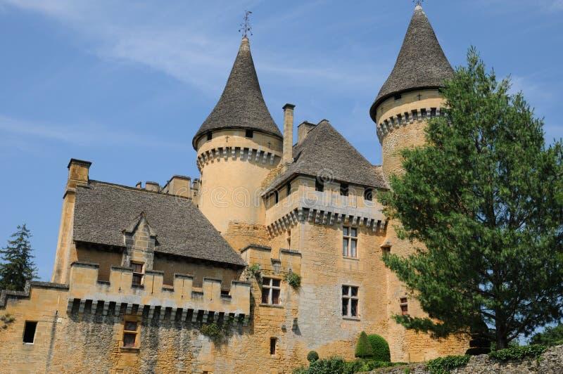 Frankrijk, schilderachtig kasteel van Puymartin in Dordogne stock foto's