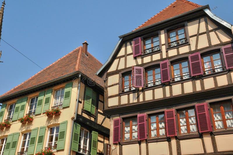 Frankrijk, schilderachtige oude stad van Obernai stock fotografie