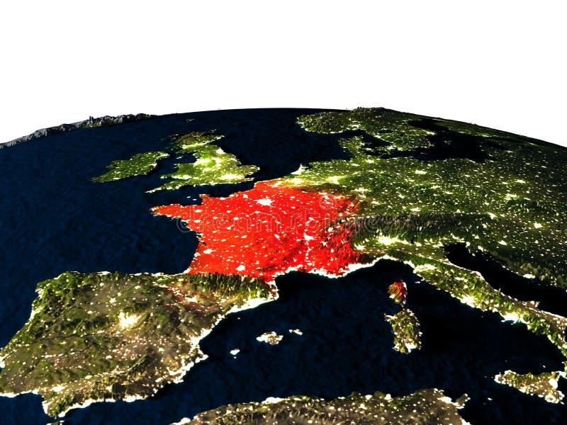 Frankrijk van ruimte bij nacht royalty-vrije illustratie