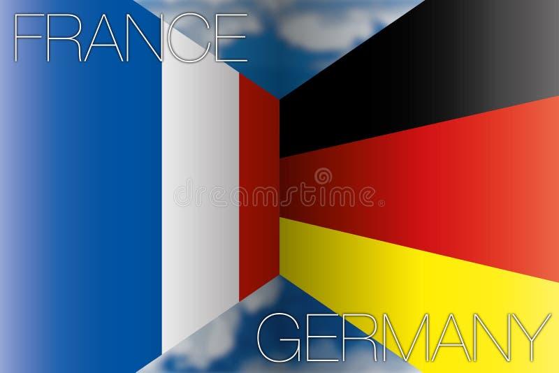 Frankrijk versus de vlaggen van Duitsland stock illustratie
