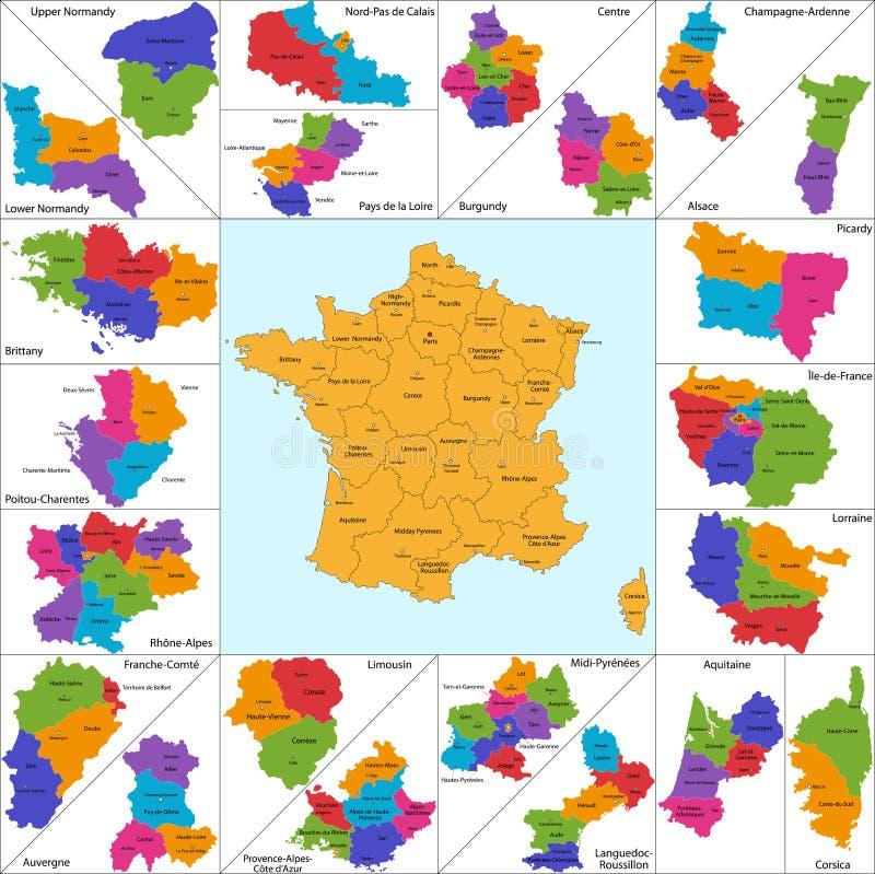 Frankrike översikt vektor illustrationer