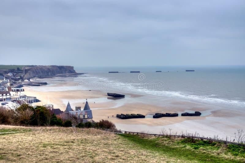 Frankrike Arromanches guld- strand arkivbilder