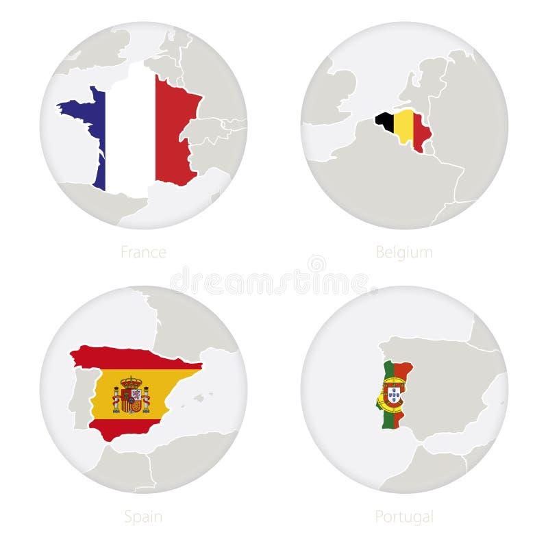 Frankrike, Belgien, Spanien, Portugal översiktskontur och nationsflagga i en cirkel stock illustrationer