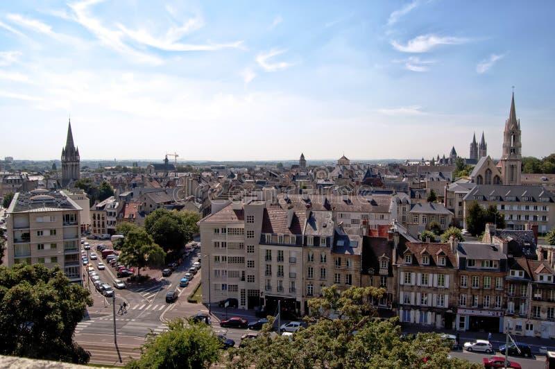Frankrike Caen stadssikt av slotten royaltyfria foton