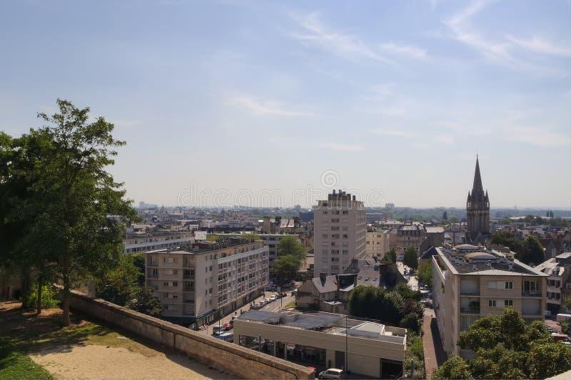 Frankrike Caen stadssikt av slotten royaltyfri bild