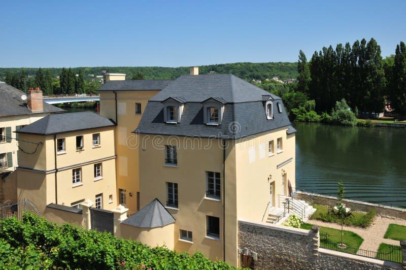 Frankrike den historiska staden av Mantes la Jolie arkivbild