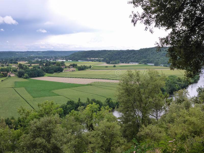 Frankrike Dordogne flod royaltyfria foton