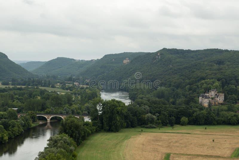 Frankrike Dordogne flod arkivfoto