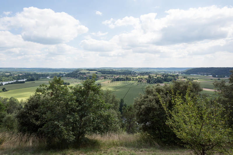 Frankrike Dordogne flod och bygd arkivfoton