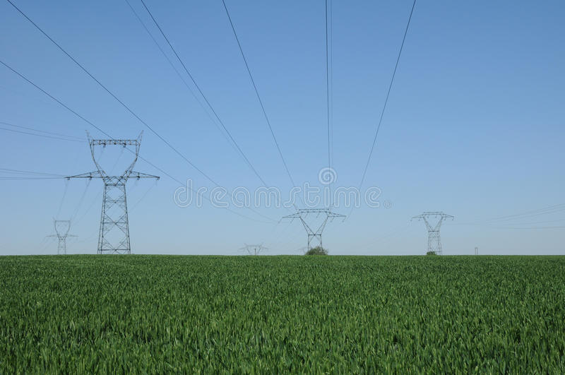 Frankrike elektrisk linje i Marcq arkivfoto