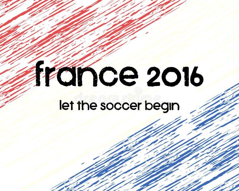 Frankrike fotbollaffisch 2016 Retro stilfulla Frankrike royaltyfri illustrationer