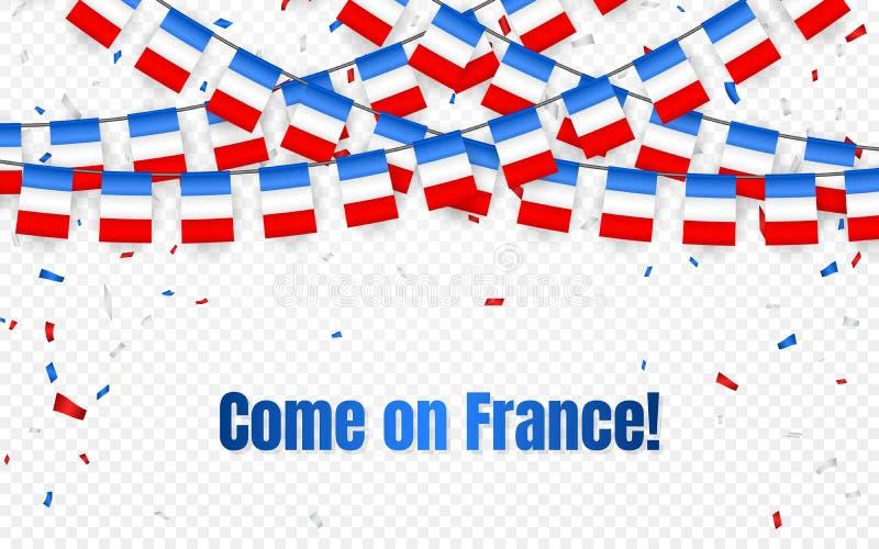 Frankrike girlandflagga med konfettier på genomskinlig bakgrund, hängningbunting för det franska berömmallbanret, vektorillustrat royaltyfri illustrationer
