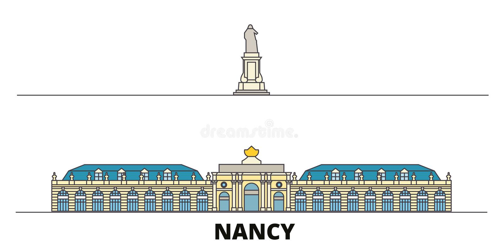 Frankrike illustration för Nancy Landmark plan gränsmärkevektor Frankrike Nancy Landmark linje stad med berömda loppsikt vektor illustrationer