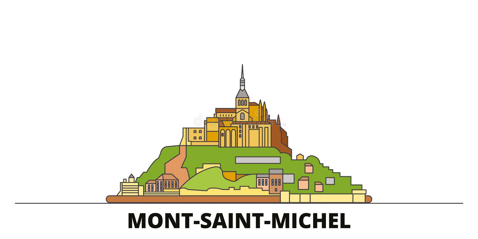 Frankrike illustration för vektor för gränsmärken för Mont Saint Michel And Its fjärd plan Frankrike Mont Saint Michel And Its fj vektor illustrationer