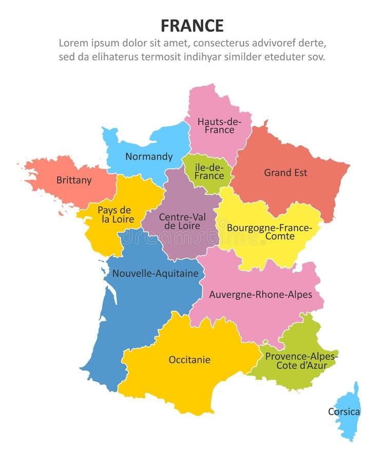 Frankrike Oversikt Med Regioner Och Deras Huvudstader Vektor