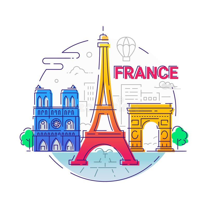 Frankrike - modern vektorlinje loppillustration vektor illustrationer
