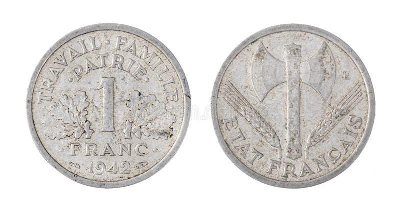 Frankrike mynt, 1 franc som isoleras på vit royaltyfri fotografi